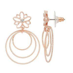 LC Lauren Conrad Flower Triple Hoop Drop Earrings